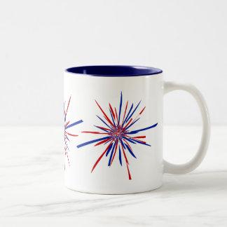 Starburst blanc et bleu rouge tasse 2 couleurs