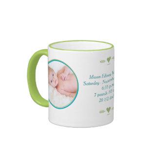 Stat personnalisée de bébé de disque de naissance tasses