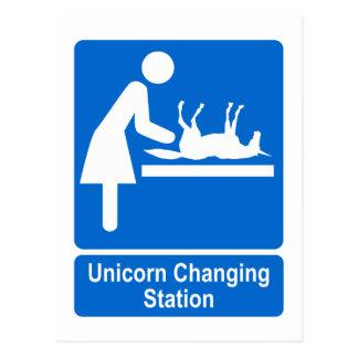Station changeante de licorne cartes postales
