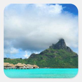 Station de vacances tropicale sur l'autocollant sticker carré