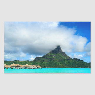 Station de vacances tropicale sur l'autocollant sticker rectangulaire