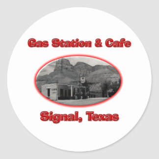 Station service et café adhésif rond