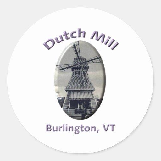 Station service néerlandaise de moulin autocollant rond