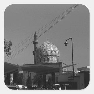 Station service vintage de l'Irak Bagdad à la Sticker Carré