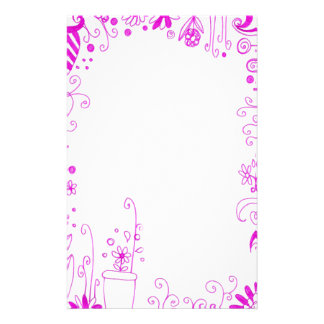 Stationnaire floral rose papeterie