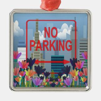 Stationnement interdit ornement carré argenté