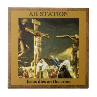 Stations de la croix #13 de 15 matrices de Jésus Petit Carreau Carré
