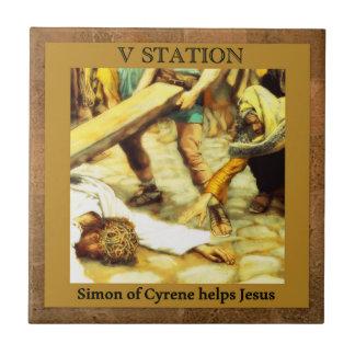 Stations de la croix #5 de 15 Simon Cyrene Petit Carreau Carré