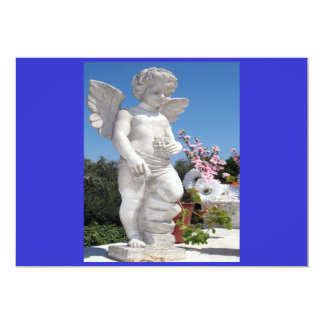 Statue d'ange dans bleu et gris carton d'invitation  12,7 cm x 17,78 cm
