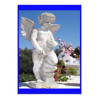 Statue d'ange dans le bleu carton d'invitation  12,7 cm x 17,78 cm
