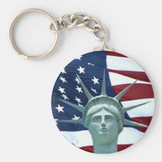 Statue de drapeau américain de liberté porte-clé rond