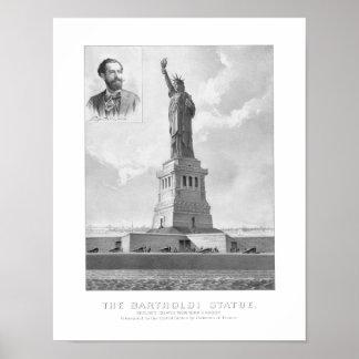 Statue de la liberté et du portrait de Bartholdi Affiches