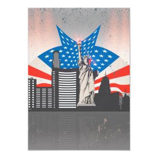 Statue de la liberté carton d'invitation  12,7 cm x 17,78 cm