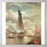Statue de la liberté, New York circa 1800's Poster