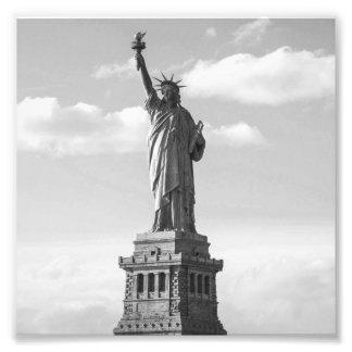 Statue de la liberté noire et blanche impression photo