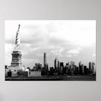 Statue de la liberté noire et blanche poster