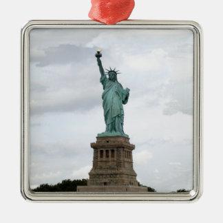 Statue de la liberté ornement carré argenté
