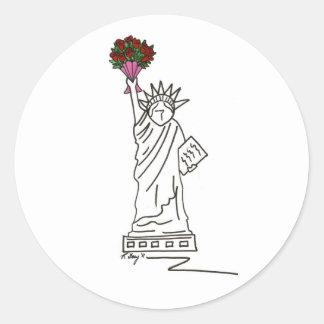 Statue de New York Valentine d'autocollant de Sticker Rond