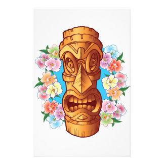 Statue de Tiki de bande dessinée Papier À Lettre Personnalisable