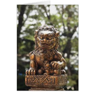 Statue en bronze de lion carte de vœux