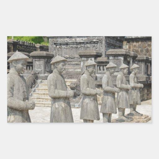 Statues en pierre de tombe autocollants en rectangle