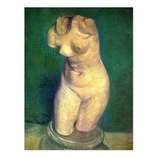 Statuette de plâtre d'un torse femelle par Van Carte Postale
