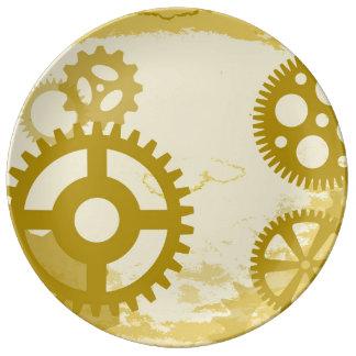 """Steampunk 10,75"""" plat décoratif de porcelaine assiette en porcelaine"""