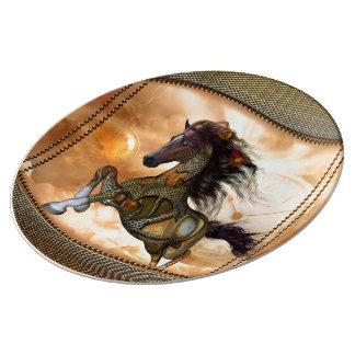 Steampunk, cheval impressionnant de steampunk assiette en porcelaine