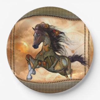 Steampunk, cheval impressionnant de steampunk assiettes en papier