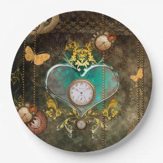 Steampunk, coeur merveilleux avec des horloges assiettes en papier
