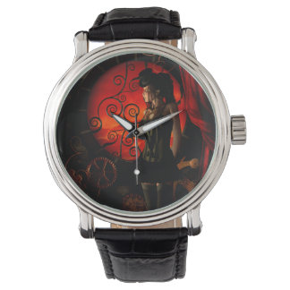 Steampunk, dame merveilleuse de steampunk pendant montre