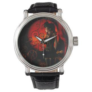 Steampunk, dame merveilleuse de steampunk pendant montres