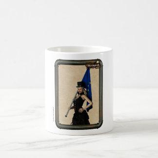 Steampunk Girl Europe Flag Coffee Cup Mug Blanc