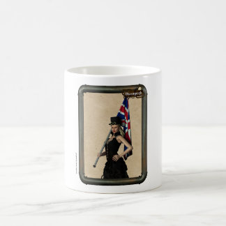Steampunk Girl UK Flag Coffee Cup Mug Blanc