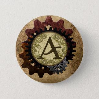 Steampunk grunge embraye la lettre A de monogramme Pin's