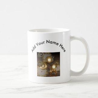 Steampunk, horloges et vitesses mug blanc