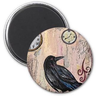 Steampunk Raven avec des horloges Aimant
