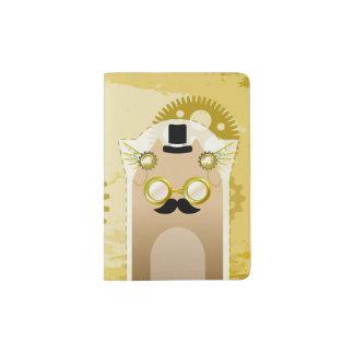 Steampunk+Support de passeport de chat Protège-passeport