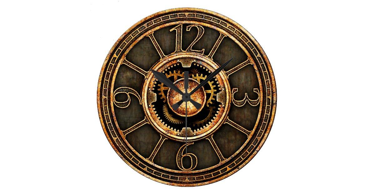 steampunk vintage v2 grande horloge ronde zazzle. Black Bedroom Furniture Sets. Home Design Ideas
