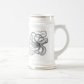 Stein vintage de dessin de poulpe nautique de chope à bière