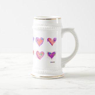Steins, tasses givrées - coeurs fous 2 d'art de