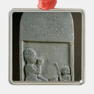 Stela de Si'gabbor, prêtre du dieu de lune Ornement Carré Argenté