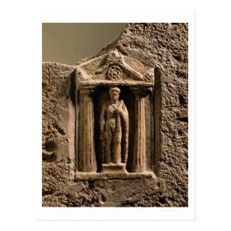 Stele votif de marbre et de grès avec le figu carte postale