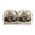 Stereoview vintage - réveillon de Noël par l'arbre Cartes De Vœux Avec Photo