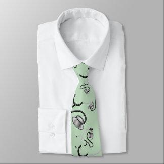 Stéthoscopes drôles pour des médecins sur le vert cravates