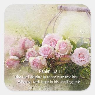 Sticker Carré 147:11 de psaume inspirant des roses de rose de