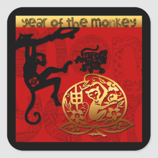 Sticker Carré 2016 ans année chinoise de singe de la nouvelle