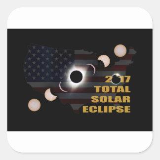 Sticker Carré 2017 phases totales d'éclipse solaire