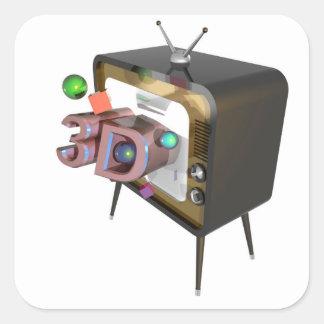 STICKER CARRÉ 3D TV