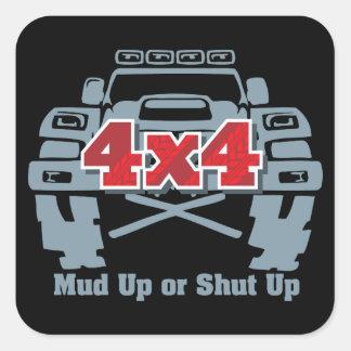 Sticker Carré 4x4 haut ou fermé de boue outre de route